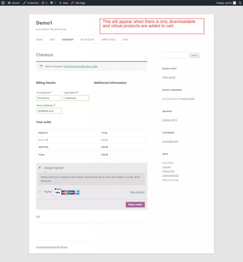 woocommerce checkout form