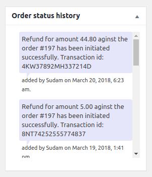 Order status history