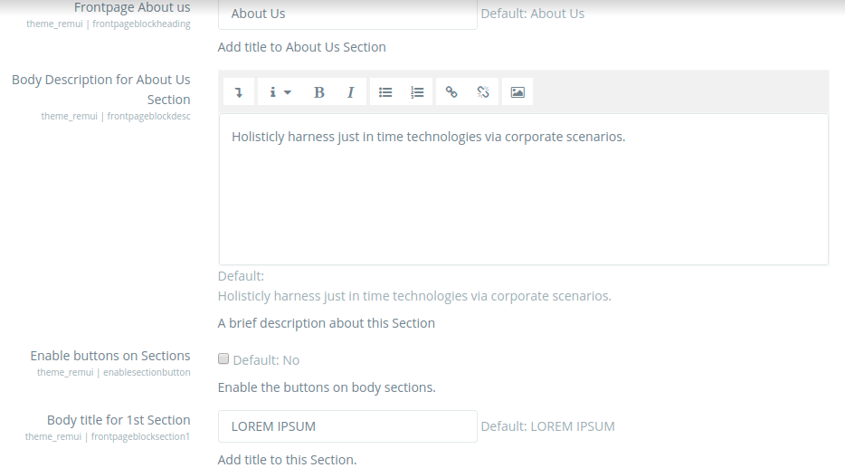 remui homepage settings