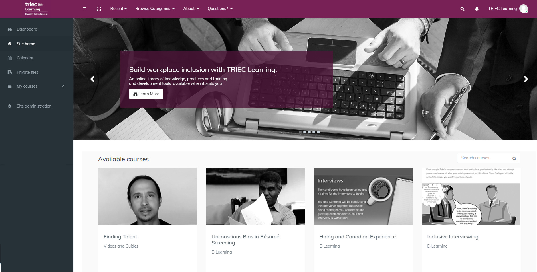 TRIEC Learning Home Page - Edwiser RemUI