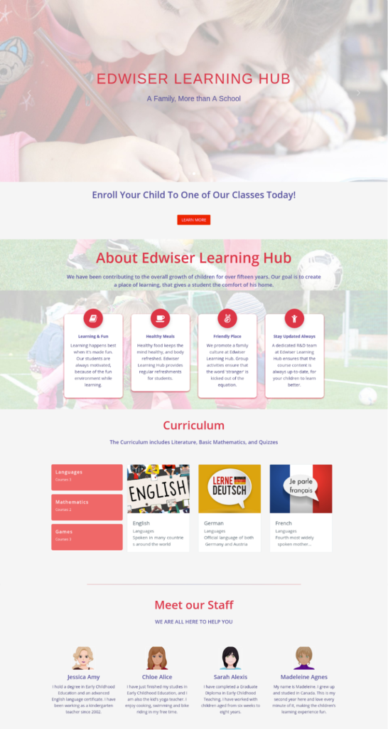 Edwiser Learning Hub - K12 Site Designed with Edwiser RemUI