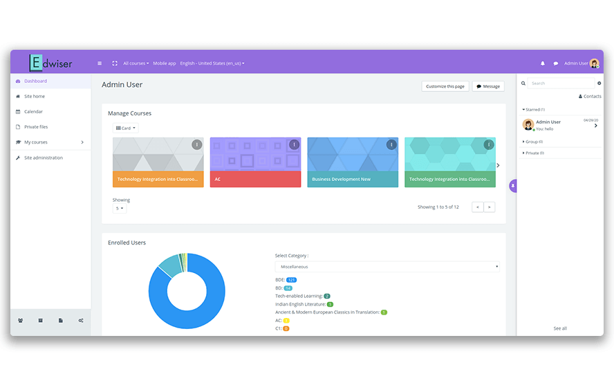 Revamped Moodle Dashboard as part of Edwiser RemUI